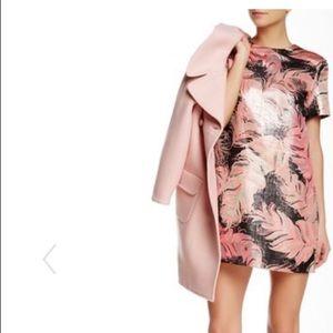 Kate Spade Regal Plumes Print Metallic Dress